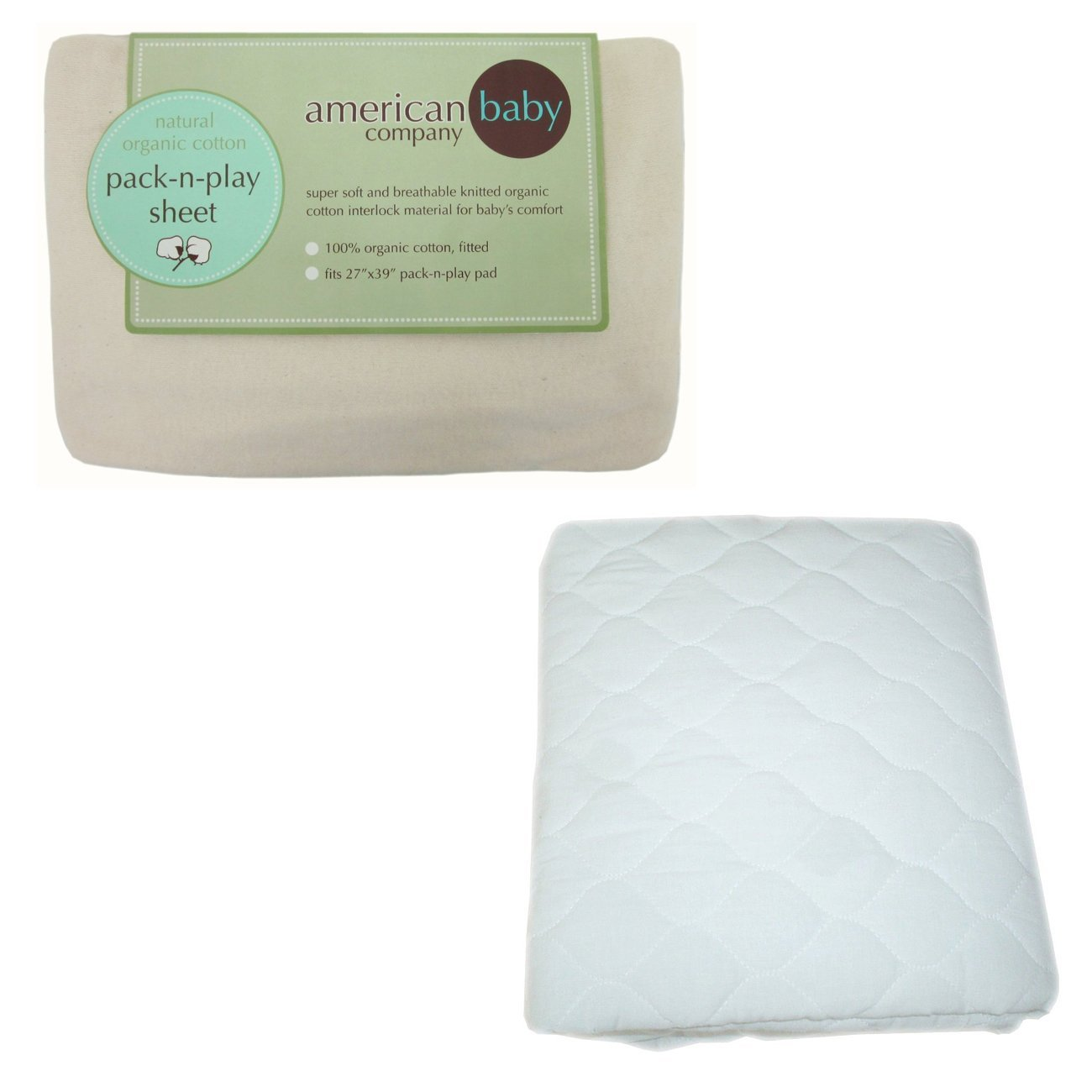 American Baby Company Organic Cotton Knitted Pack N Play Sheet with Waterproof Quilted Portable Crib Mattress Pad