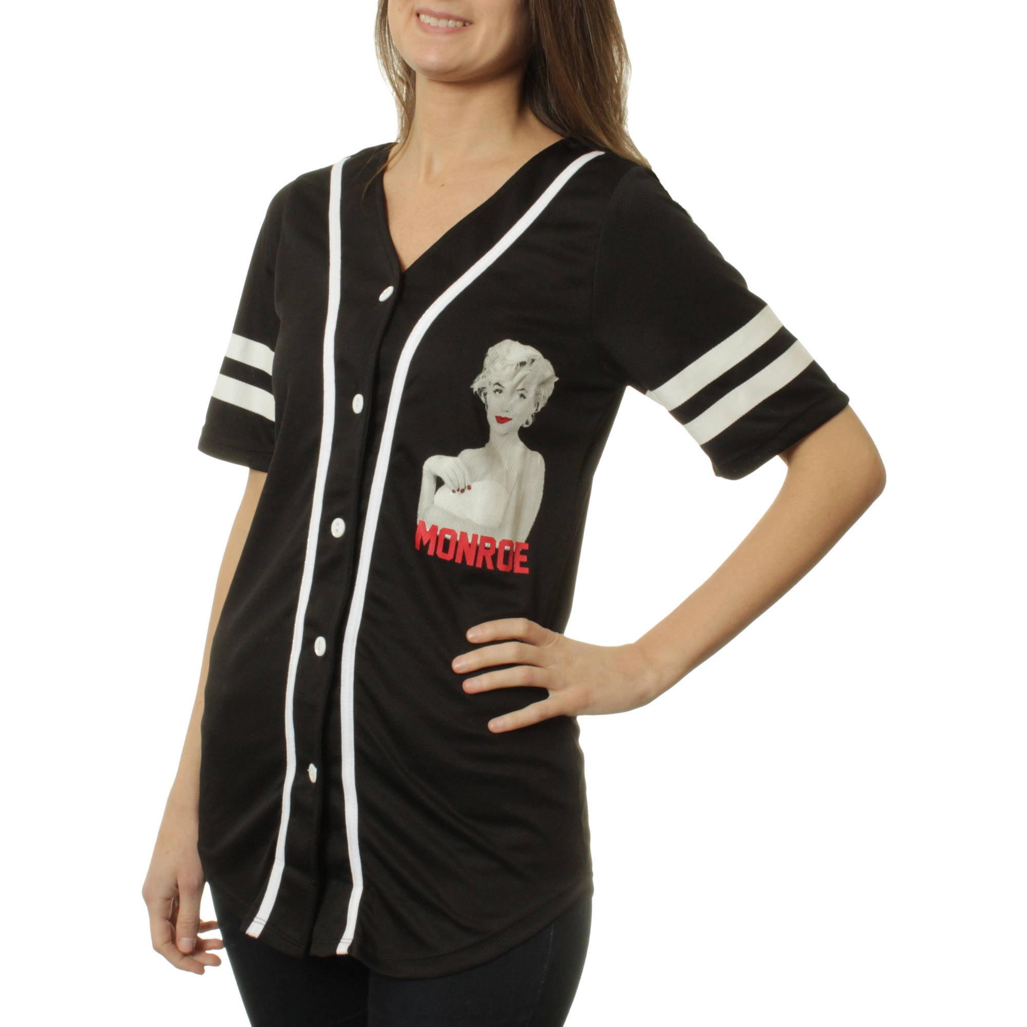 Marilyn Monroe Juniors' Graphic Button Front Athletic Mesh Baseball Shirt