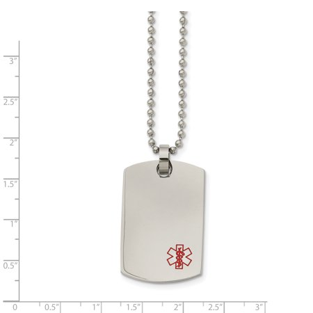 Stainless Steel Dog Tag Medical Pendant Necklace 24in - image 1 de 3