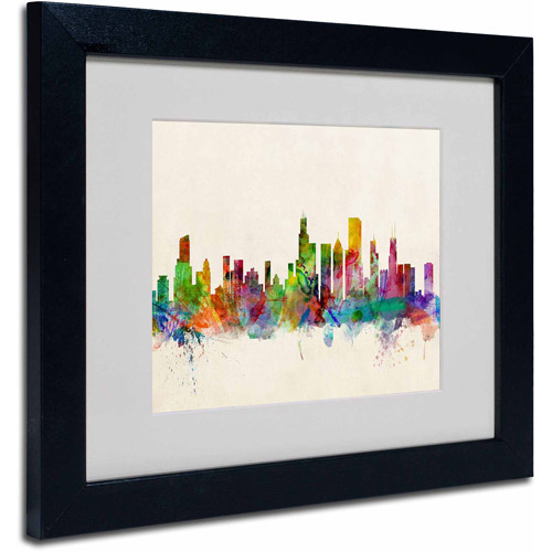 "Trademark Fine Art ""Chicago, Illinois"" Canvas Art by Michael Tompsett, Black Frame"