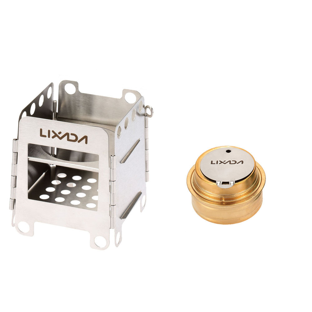 Lixada Outdoor Portable Stainless Steel Folding Wood Stove Pocket Stove with Backup