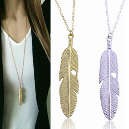 Amazonite Long Necklace (Girl12Queen Women Vintage Feather Pendant Long Sweater Chain Necklace Statement Jewelry)