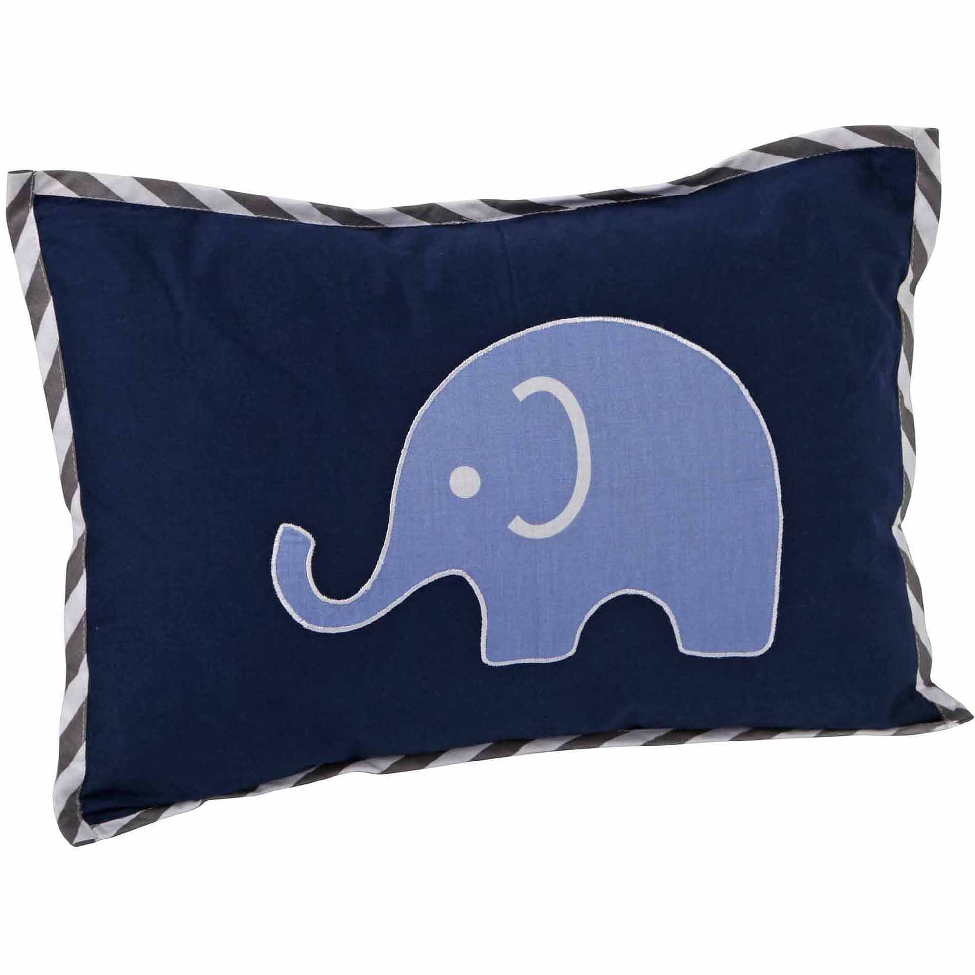 "Bacati Elephants Dec Pillow 12""x16"" with removable 100 % Cotton cover and polyfilled pillow insert, Blue/Gray"