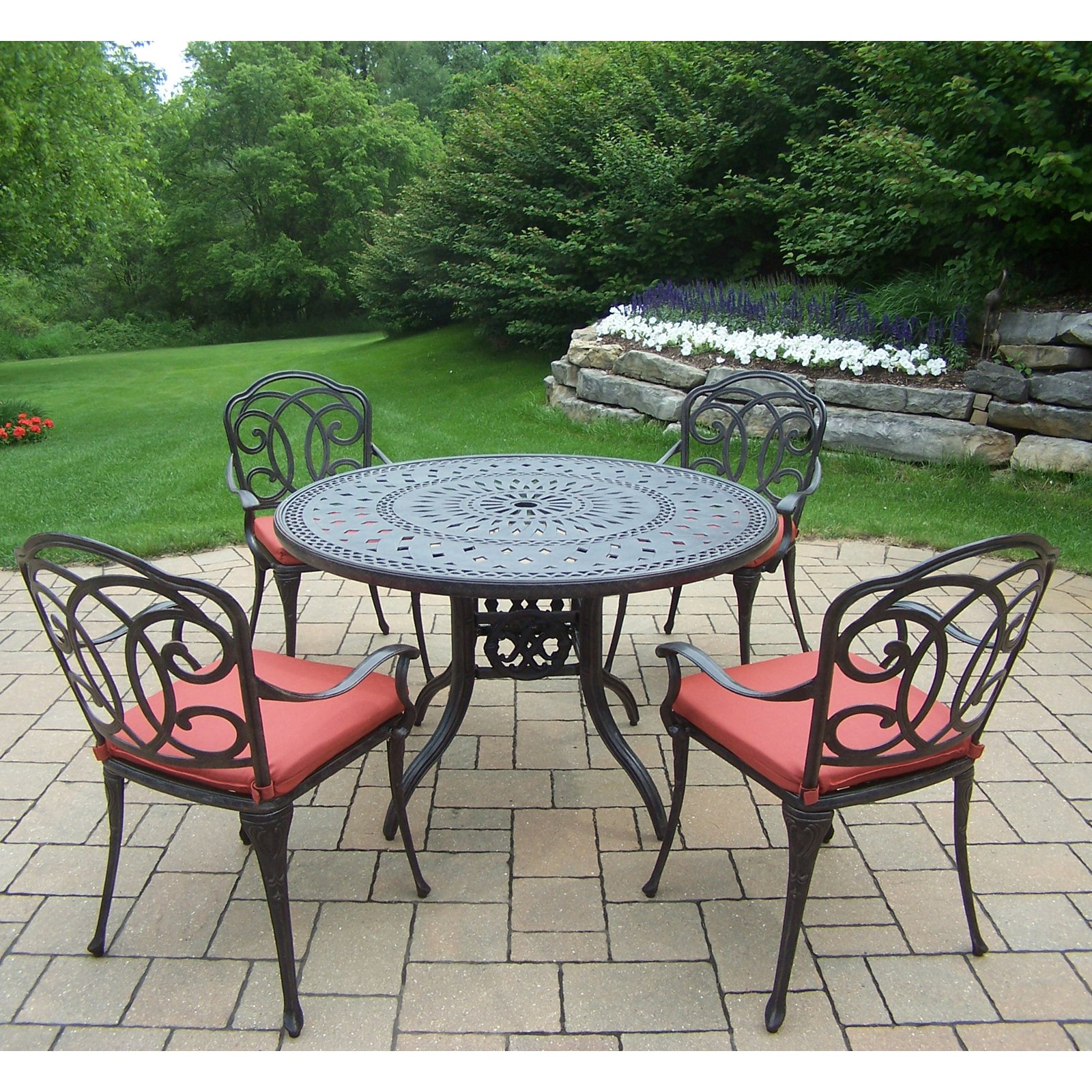 Oakland Living Berkley Aluminum 5 Piece Round Patio Dining Set with Cushion
