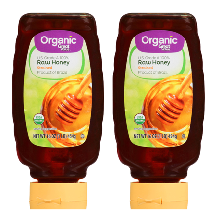 Raw Natural Honey ((2 Pack) Great Value Organic Strained Raw Honey, 16)