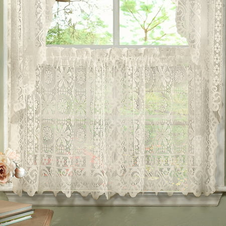 Hopewell Heavy Floral Lace Kitchen Window Curtain 36 x 58 (Lace Floral Curtain)
