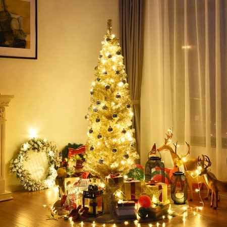 Gymax 6ft Pencil Artificial Christmas Tree Electroplate ...