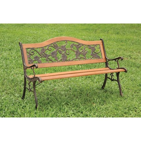 Magnificent Simple Relax Alba Outdoor Park Patio Park Bench Floral Bird Backrest Slated Seat Antique Oak Uwap Interior Chair Design Uwaporg