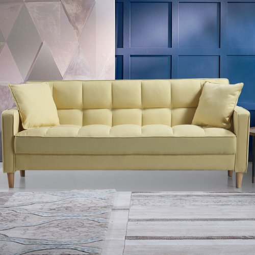 Madison Home USA Modern Linen Fabric Tufted Small Space Sofa ...