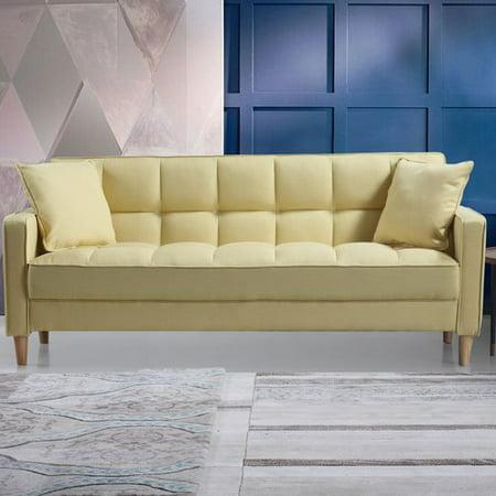Brilliant Madison Home Usa Modern Linen Fabric Tufted Small Space Sofa Machost Co Dining Chair Design Ideas Machostcouk