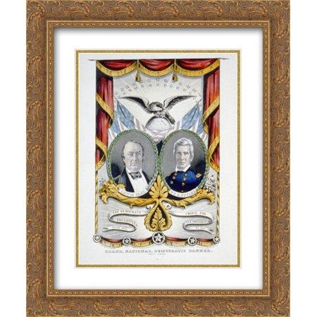 Grand, national, democratic banner. Press onward 20x24 Double Matted Gold Ornate Framed Art (Matt Banner)