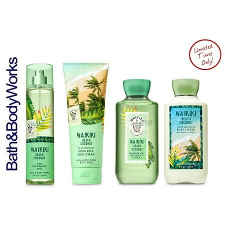 Bath and Body Works WAIKIKI BEACH COCONUT Gift Set - Body Lotion - Body Cream - Fragrance Mist & Shower Gel -Full size