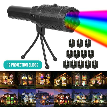 Festival Projector Lights, Battery Operated Projection Flashlight with 12 Rotatable Patterns, Kids Handheld Projector Festival Party Decoration