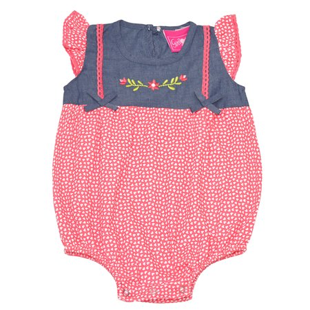 Baby Girls Orange Heart Print Floral Detail Snap Closure Bodysuit - Heart Snap Closure