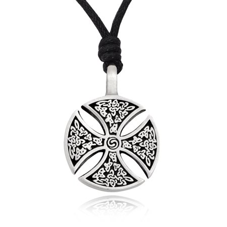 Vintage Celtic Germanic Cross Shield Silver Pewter Charm Necklace Pendant Jewelry With Cotton Cord