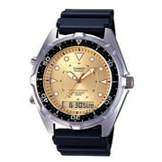 Mens Casual Ana-Digi Sports Watch With Gold Dial, Black Resin Strap