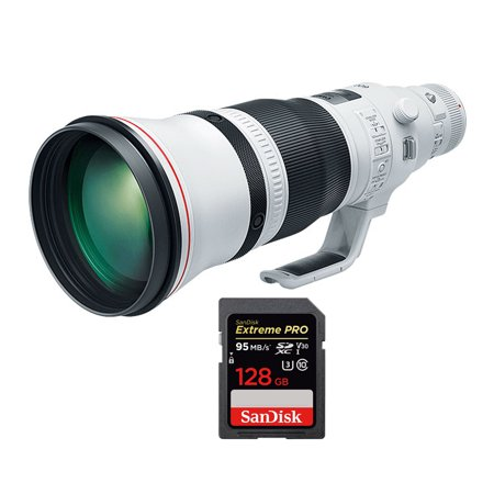 Canon EF 600mm f 4/L IS III USM Super Telephoto Lens (3329C002) with Sandisk Extreme PRO SDXC 128GB UHS-1 Memory Card 600 Mm Carbon