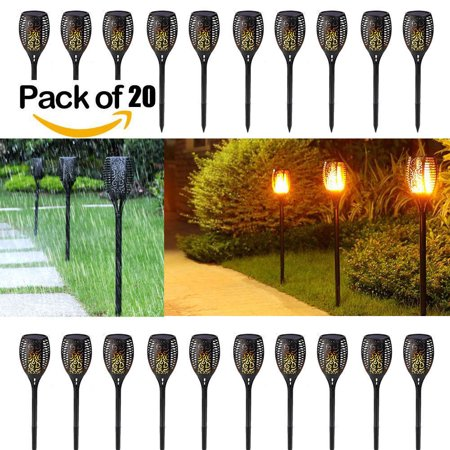 (Pack of 20) 96 LED Solar Torch Path Garden Lights Outdoor Waterproof, Dusk to Dawn Auto On/Off Flickering Flames Torches Lighting for Patio Deck Yard Driveway Decoration
