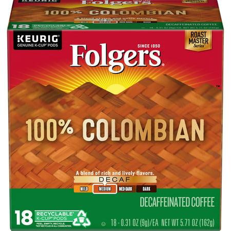 Folgers 100% Colombian Decaf Coffee, Medium-Dark Roast, K-Cup Pods for Keurig K-Cup Brewers,
