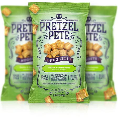 - Pretzel Pete Pretzel Nuggets, Parmesan Garlic, 9.5 Oz, Pack of 3