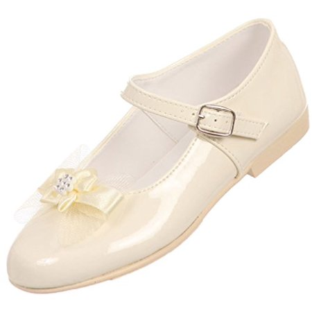 Ivory Buckle (Angel Girls Shiny Patent Bow Ankle Strap Buckle Flower Dress Shoes Ivory 10 Toddler (T77R15K) )