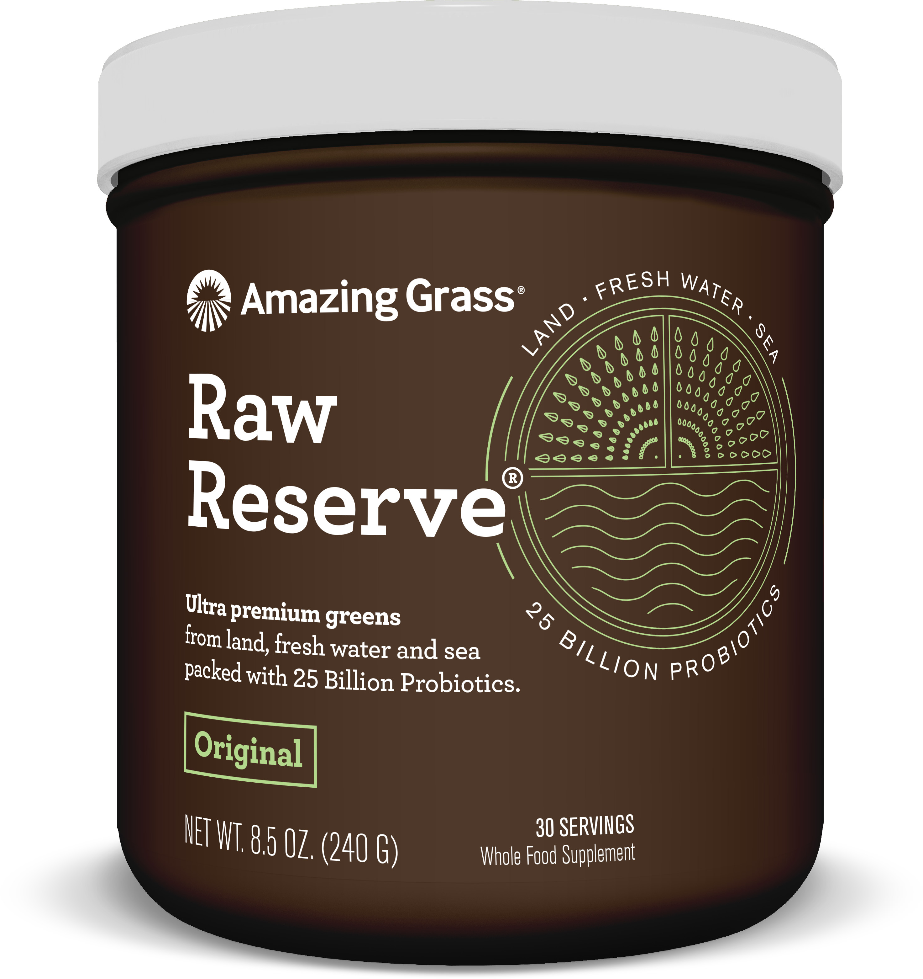 Amazing Grass Raw Reserve Green Superfood Powder, Original, 30 Servings