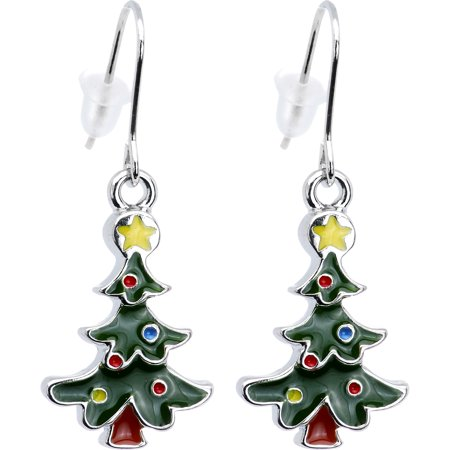 Body Candy Ready for Santa Decorated Christmas Tree Holiday Dangle Earrings