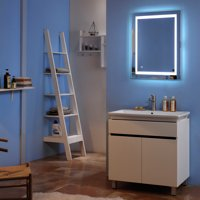 Zimtown Lighted Mirror Touch LED Bathroom Mirror Rectangle 28x20 Silver