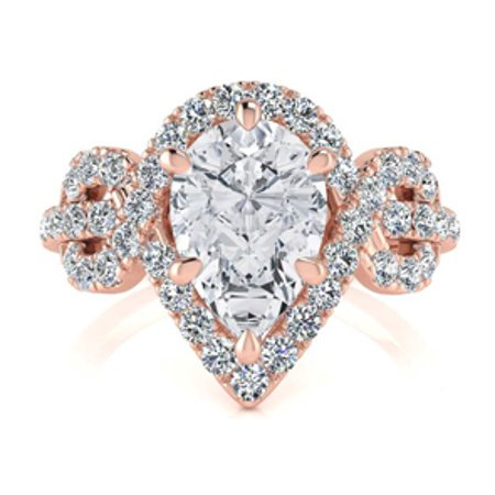 1 1/2 Carat Pear Shape Halo Diamond Fancy Engagement Ring In 14K Rose Gold Size 6