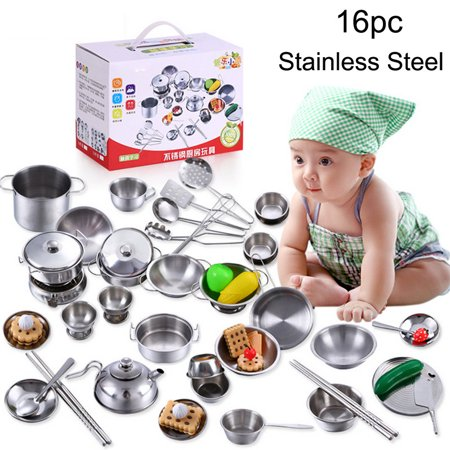 Binmer 16 Pcs Set Kids Play House Kitchen Toys Cookware Cooking Utensils Pots Pans (Children Play Cookware)