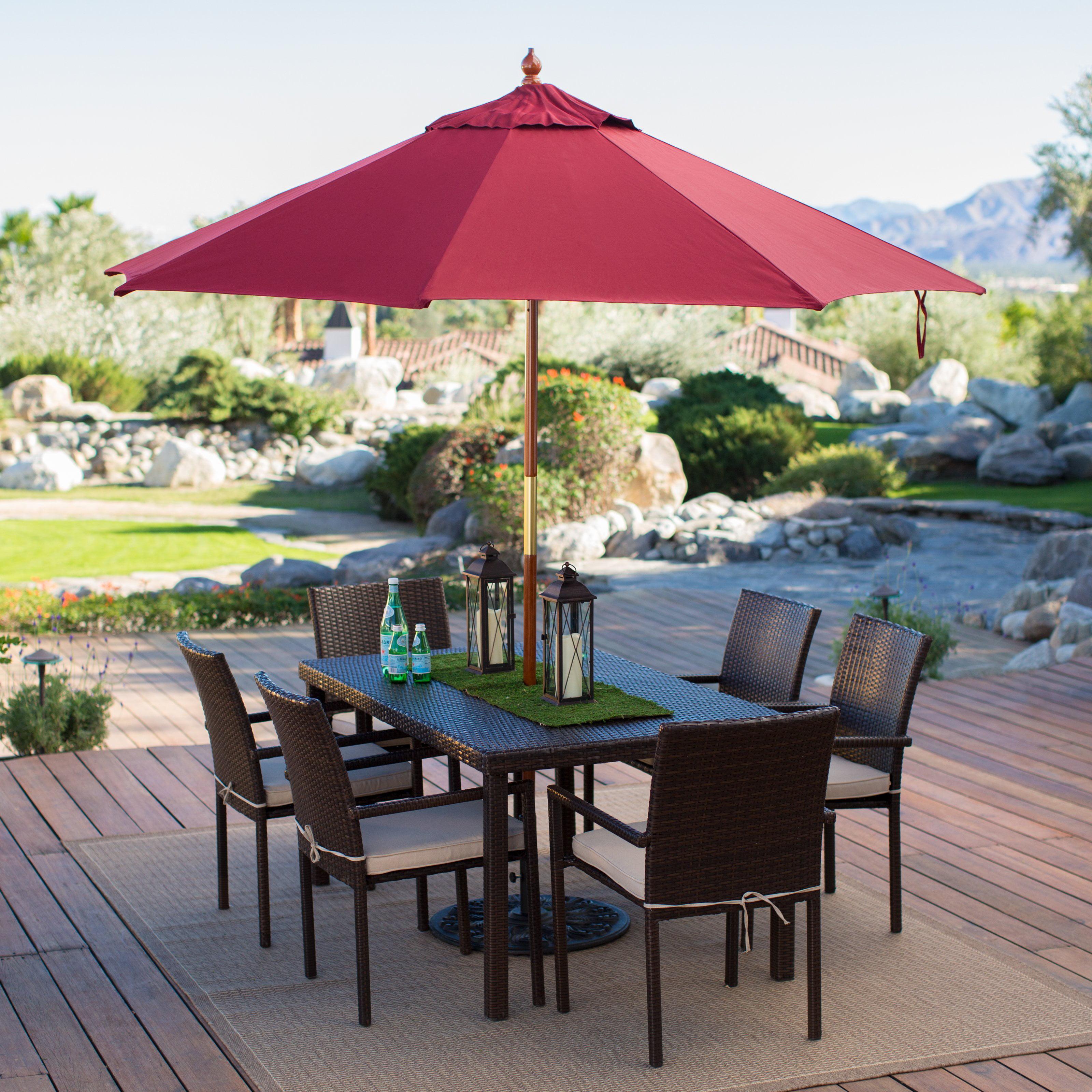 Wood Commercial Grade Sunbrella Market Umbrella