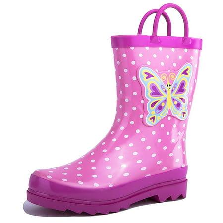 Polka Dot Waterproof Rain Boots (Puddle Play Kids Girls' Butterfly Polka-Dot Printed Waterproof Easy-On Rubber Rain Boots (Toddler/Little Kids) )