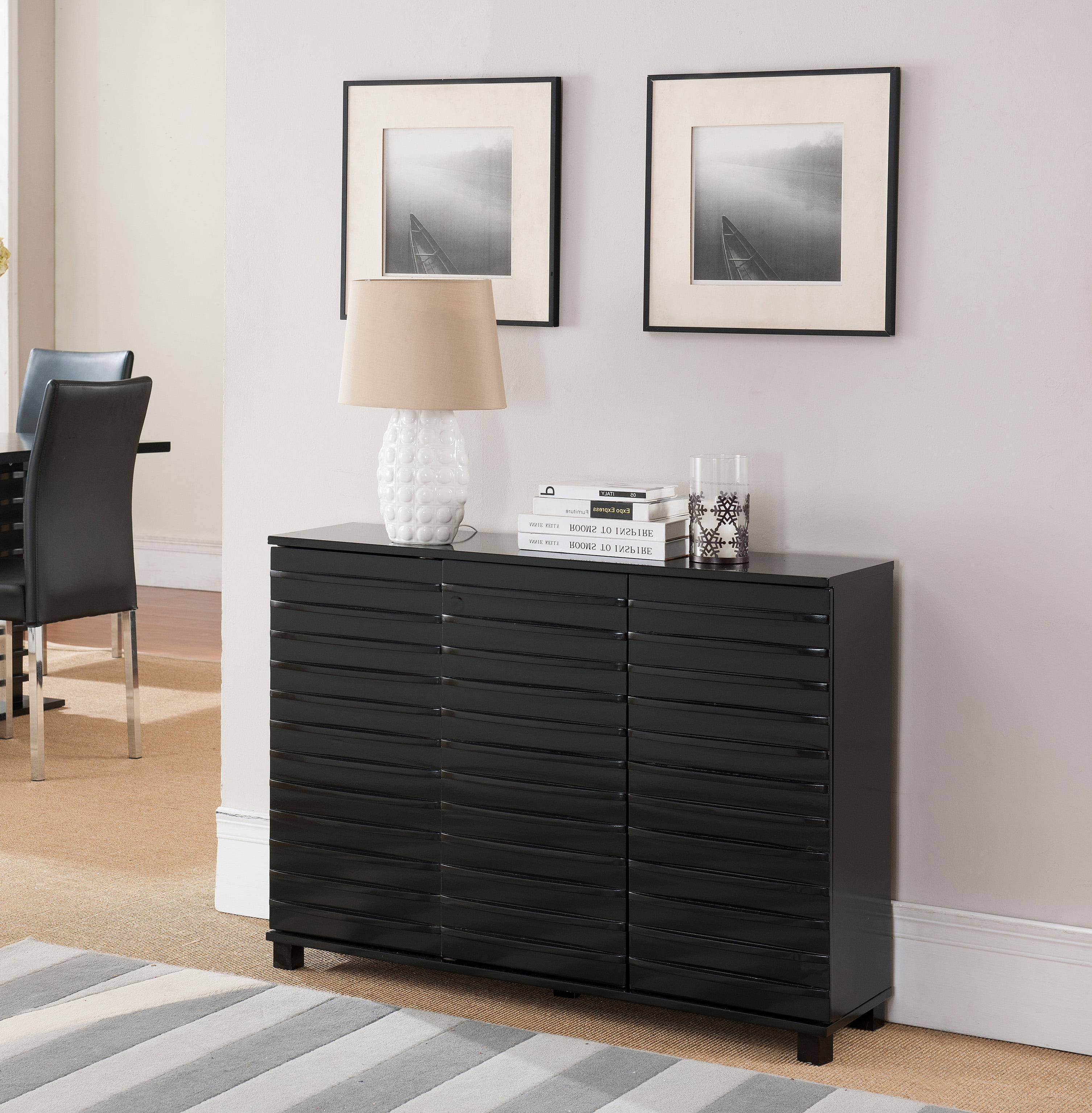 Black Wood Contemporary Sideboard Buffet Console Table With Cabinet Doors & Storage by Pilaster Designs