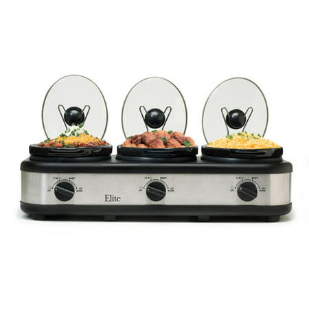Elite EWMST-325 Platinum 3x2.5qt Triple Slow Cooker w/Lid Rest