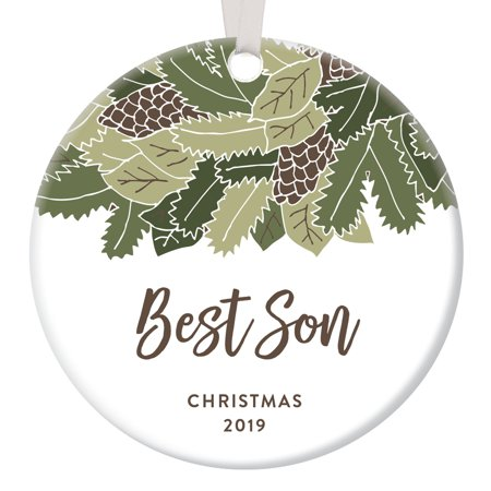 Best Son Christmas Ornament Dated 2019 Holiday Keepsake for Mom & Dad's Grown Male Child Birthday Present for Men Newborn Baby Boy Shower Gifts Rustic Woodland Floral Ceramic 3