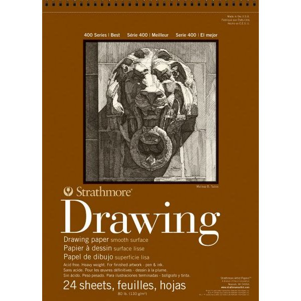 """Strathmore 14"""" x 17"""" Smooth Surface Wire Bound Drawing Pad"""