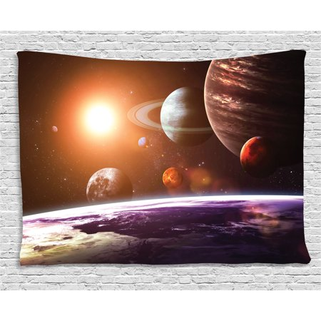 Galaxy Tapestry, Space Theme View of the Planets from Earth Science Room Art with Sun and Moon, Wall Hanging for Bedroom Living Room Dorm Decor, 60W X 40L Inches, Magenta Orange, by Ambesonne - Galaxy Theme