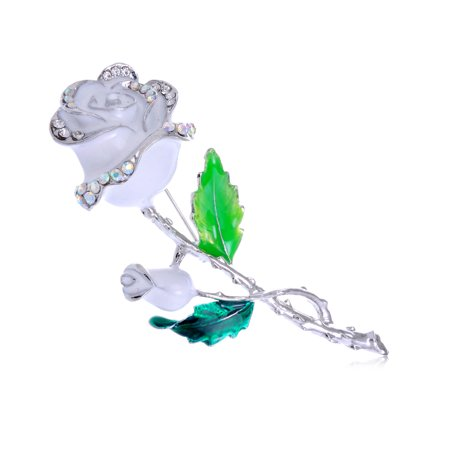 Silver Tone White Enamel Painted Rhinestone Rose Flower Fashion Pin Brooch