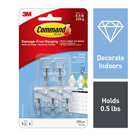 Command Damage-Free Hanging Small Wire Hooks - 5 CT
