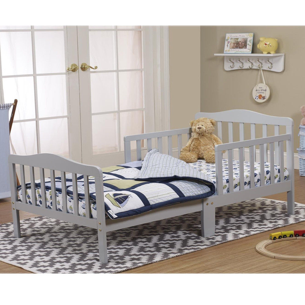 Zimtown baby toddler bed kids children wood bedroom furniture w safety railsgray