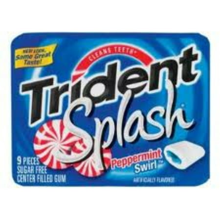 Trident Splash Sugar Free Gum Peppermint Swirl 10 pack (9 ct per pack) (Pack of 2) - Peppermint Swirl