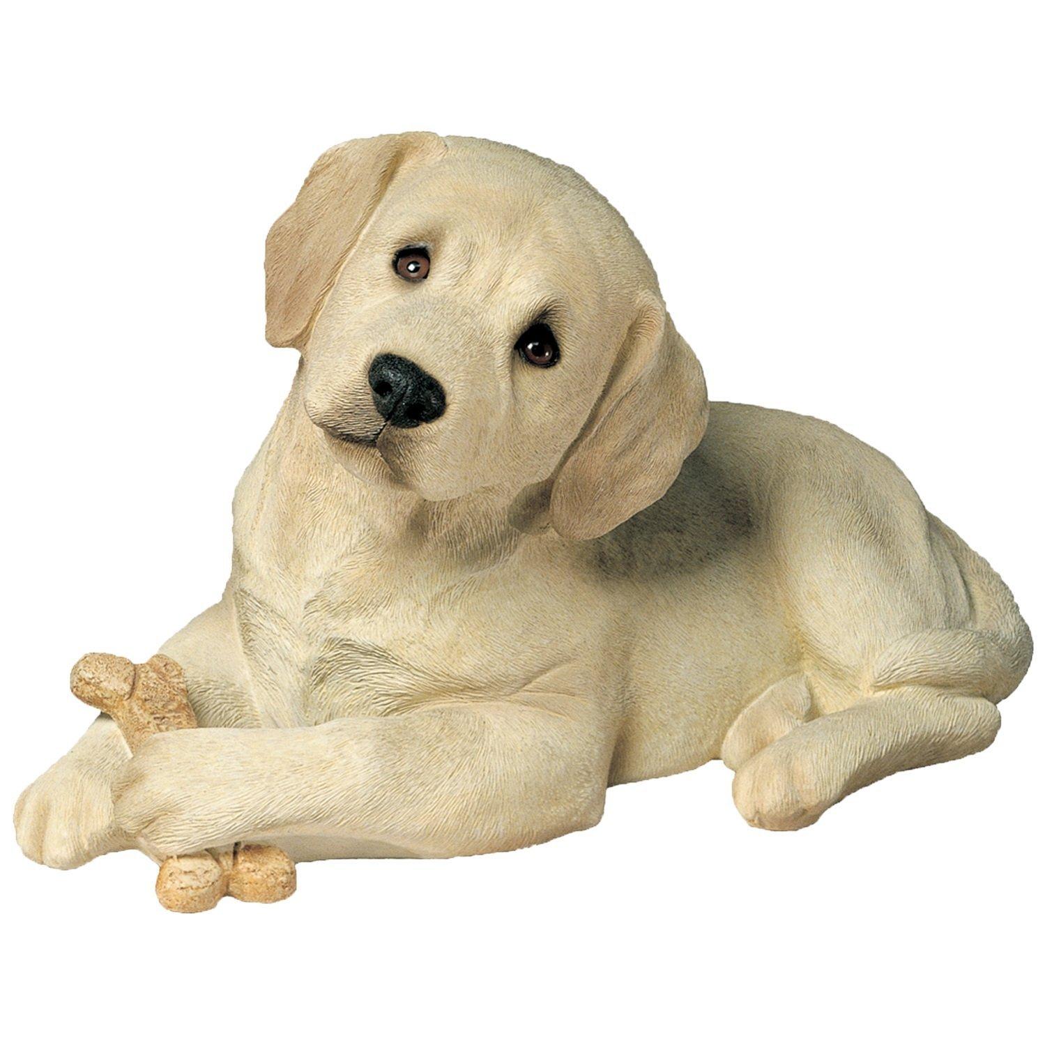 Sandicast Life Size Lying Yellow Labrador Retriever Pup Dog Sculpture