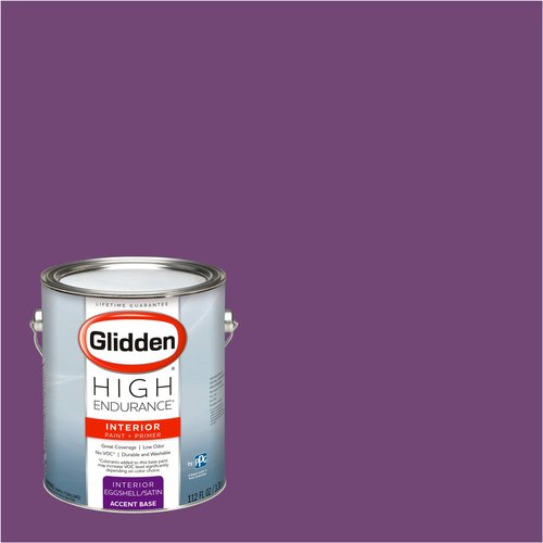Glidden High Endurance, Interior Paint and Primer, Regal Purple, #56RB 09/302, Eggshell, 1 Gallon