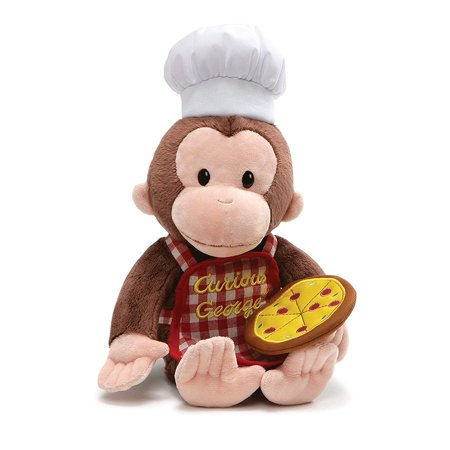 GUND Curious George Pizza Pie Stuffed Animals and Plush Toys,