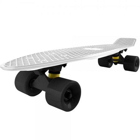 - Cal 7 Complete Mini Cruiser Skateboard, 22 Inch Plastic in Retro Design (White, Black, Black)