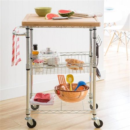 Bamboo Kitchen Cart, Chrome - 37 x 28 x 20 in.
