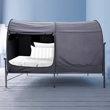 (Bed Canopy Tent Privacy Space Twin Size Indoor Curtains Gray Cottage)