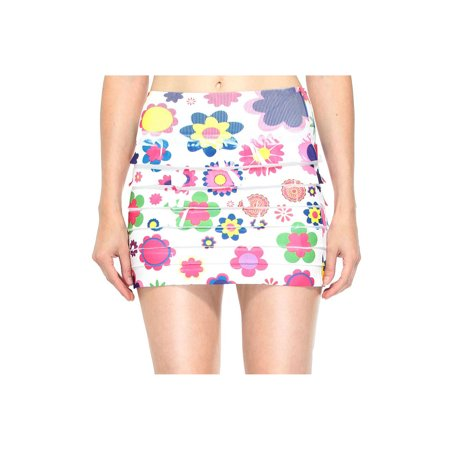 Retrochic Mini Skirt with All Floral Print in Bright Colors, Flower (Retro-chic)