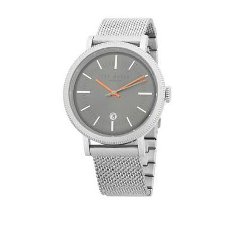 Ted Baker Men's Silver Mesh Bracelet With Black Analog Dial Watch 10031512 Black Mesh Bracelet Watch