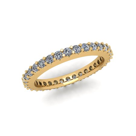 Cut Diamond Ring Band - Natural 1.0Ctw Round Cut Diamond Stackable Women's Anniversary Wedding Eternity Band Ring Solid 10k Yellow Gold G-H I1